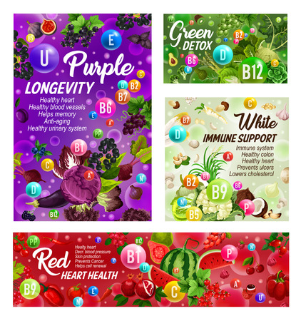 Rainbow diet and healthy food nutrition. Vector color diet vitamins and minerals, immune support in organic fruits and vegetables, longevity and green detox or heart health in salads and berries
