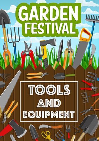 Gardening, planting or farming agriculture tools and equipment. Vector garden festival poster of gardener rakes, tree secateurs or farmer spade and agronomy inventory Banque d'images - 125315559