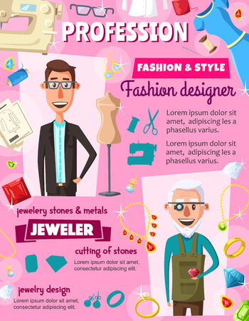 Fashion designer or dressmaker tailor and jeweler professions. Vector dress and clothes tailoring, sewing machine and threads, jewelry diamonds and gemstones appraiser with magnifier