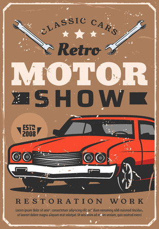 Retro motors show, vintage cars museum exhibition or club. Vector grunge poster or collector old vehicle with wrenches, automotive restoration works and mechanic maintenance service