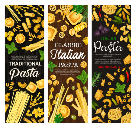 Italian pasta, Italy traditional food dishes. Vector farfalle, fusilli or fettuccine and linguine with penne or conchiglie and pappardelle or gnocchi on restaurant menu Illustration