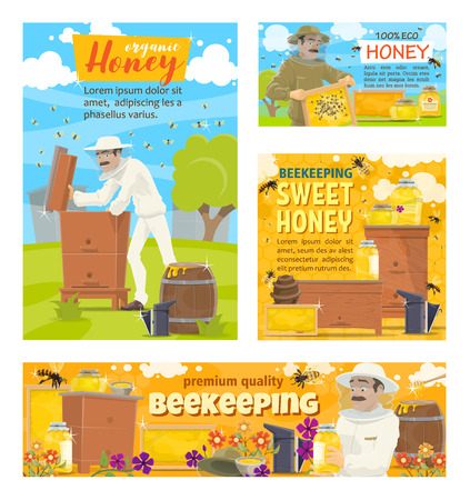 Apiary beekeeping farm and beekeeper collecting honey in honeycombs from beehive. Vector cartoon posters of beekeeping and natural honey production