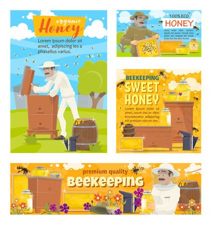 Granja apícola de colmenar y apicultor recolectando miel en panales de colmena. Carteles de dibujos animados vectoriales de apicultura y producción de miel natural Ilustración de vector