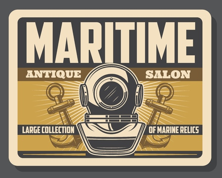 Diving aqualung helmet and ship anchors. Maritime antique salon vector vintage poster of rarity marine l relics and nautical seafarer adventure museum