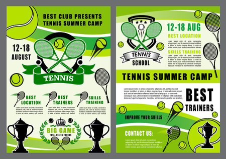 Tennis summer camp tournament or sport training school posters. Vector tennis game tournament, victory cup or racket wit bal and fan club stars on badge