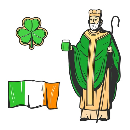 St Patricks Day vector symbols of Saint Patrick apostle of Ireland with glass of green beer and bishop crosier, three leaved shamrock and flag of Ireland sketches. Irish holiday of patron saint