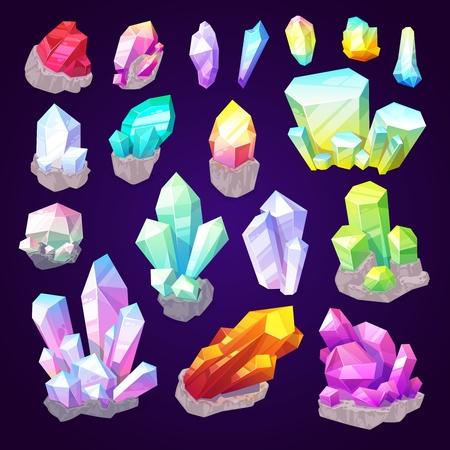 Cristales de piedras preciosas, piedras preciosas y minerales naturales. Vector brillante brillante diamante, joya esmeralda o zafiro brillo y amatista con rubí en preciosas joyas de corte Ilustración de vector