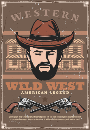 Wild West vintage poster of western American bandit robber in in hat with pistol guns. American legend cowboy saloon in Texas or Arizona state, vector retro poster