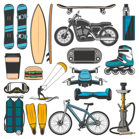 Modern leisure, sport hobby lifestyle entertainment items. Vector snowboard, surfboard and skateboard or roller skates, bicycle and motorcycle with windsurfing, scuba diving and hoverboard or drone