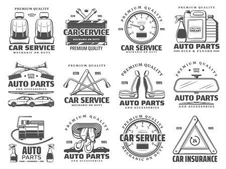 Riparazione auto, icone del servizio di diagnostica del veicolo automobilistico. Negozio di ricambi auto vettoriali, cambio dei fluidi dell'olio della stazione di garage per il restauro di automobili, assicurazione auto e carro attrezzi, liquido di raffreddamento motore e radiatore