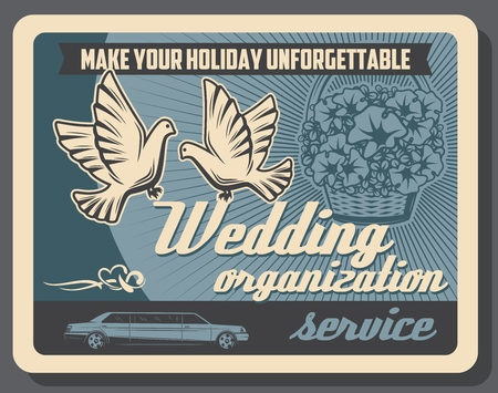 Wedding organization agency poster. Vector limousine rent and flower delivery service on marriage celebration and party VIP event, dove and wedding ribbons