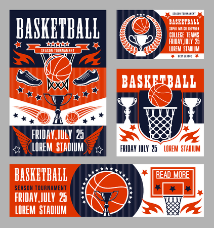 Basketball sport championship or college teams tournament posters. Vector basketball club or league victory cup, player sneakers and ball wings at arena stadium Illustration