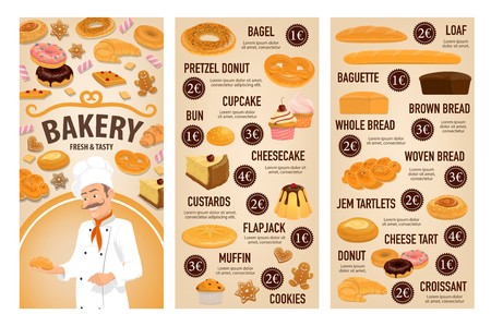 Bakery shop, patisserie pastry and baker desserts menu price. Vector bagel, pretzel donut or cupcake and bun, sweet cheesecake or custards with flapjack and wheat or rye loaf bread Vectores