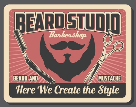 Barbershop poster, beard shave and mustaches cut. Vector haircut studio or men hairdresser salon with razor shaver and hair scissors