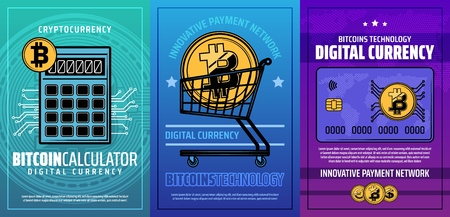 Bitcoin cryptocurrency or digital currency mining and blockchain technology. Vector digital money wallet and crypto currency exchange in innovative payment network Ilustracja
