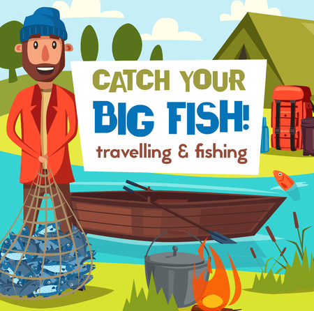 Fisher on fish catching tour or hobby leisure. Vector fisherman fishing and traveling with camp at river or lake with boat, rod lures or tackles and fish in net