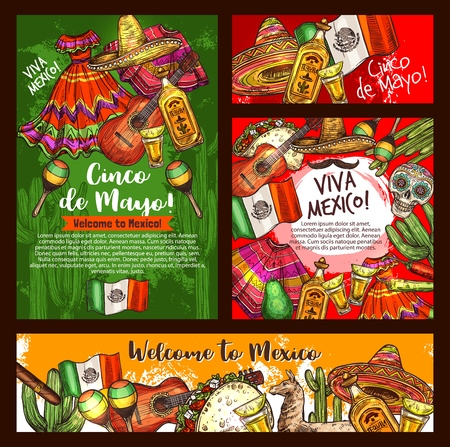 Mexican Cinco de Mayo fiesta party sombrero, tequila margarita and guitar, chili, cactus and Mexico flag, taco, skull and maracas. Latin American festival bunting and pinata sketches. Vector design Иллюстрация