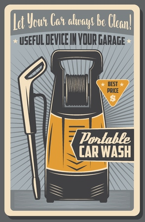 Portable car washer device or car wash water gun kit. Vector retro poster of vehicle washing service or automotive cleaning appliances and accessory store
