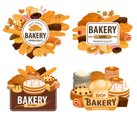 Bakery shop, patisserie pastry and baker desserts. Vector wheat and rye bread loaf, pancake and gingerbread biscuits, donut and chocolate pies with ciabatta bagel or bun and muffins