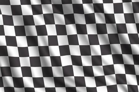 Autorennen oder Auto-Rallye 3D realistische Flagge. Vektor-Autosportrennen Motocross-Rallye-Wettbewerb beenden oder starten Sie den karierten Flaggenhintergrund