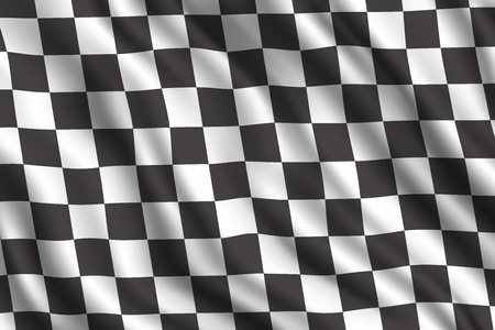 Car racing or auto rally 3d realistic flag. Vector car sport races motocross rally competition finish or start checkered flag background Standard-Bild - 125315570