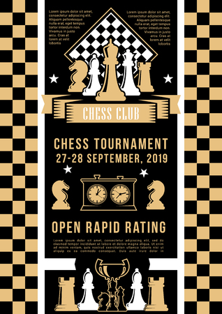 Tournament in chess game, play pieces and board. Vector bishop and rook, king and queen, knight and checkerboard, chessboard. Invitation on intellectual game, competition on chess, golden award