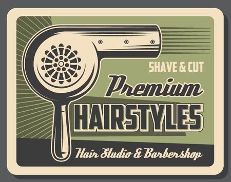 Coiffures au salon de coiffure, sèche-cheveux. Services de rasage et de coupe vectoriels, style de barbe et de moustache pour hommes. Coupe de cheveux rétro et coiffure par sèche-cheveux électrique. Salon de beauté, mode vintage Vecteurs