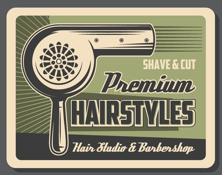 Hairstyles at barbershop, hair dryer. Vector shave and cut services, men beard and mustaches styling. Retro haircut and hairdo by electric appliance hairdryer. Beauty salon, vintage fashion