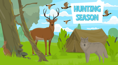 Hunting season in forest, wild animals. Vector duck and deer, rabbit and wolf, camping tent. Hunt club, hobby or sport, outdoor recreation. Nature and trees, predator and carnivore, birds flock 向量圖像