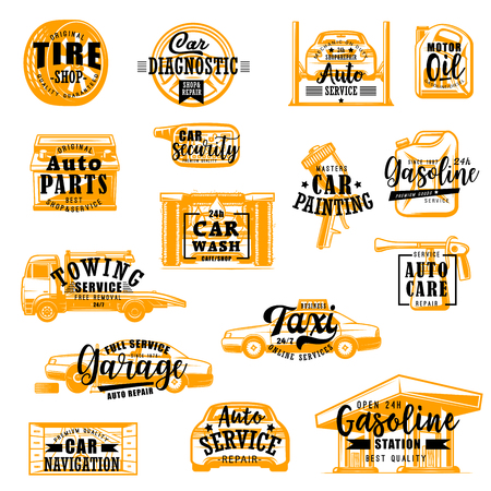 Car repair service icons with lettering. Vector tire fitting and vehicle diagnostic, motor oil and spare parts, security and wash, painting and gasoline. Garage or gas station, taxi and navigation