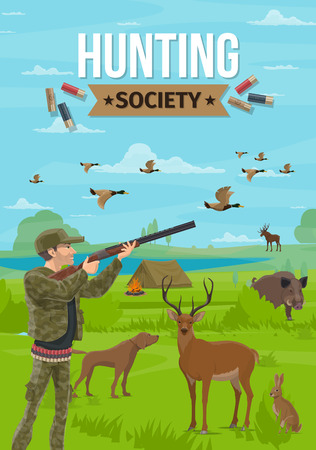 Hunting sport, hunter holding rifle, dog on hunt. Vector forest animals and camping tent with campfire near lake, duck and deer, boar and rabbit, moose. Hunters club society, shooting gun, campfire Stockfoto - 116824280