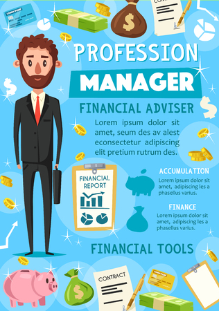 Manager or businessman, financial advisor. Vector businessman with briefcase, coins and money. Signed contract, report, salary banknotes, coins in money bag, piggy bank and credit card Ilustracja