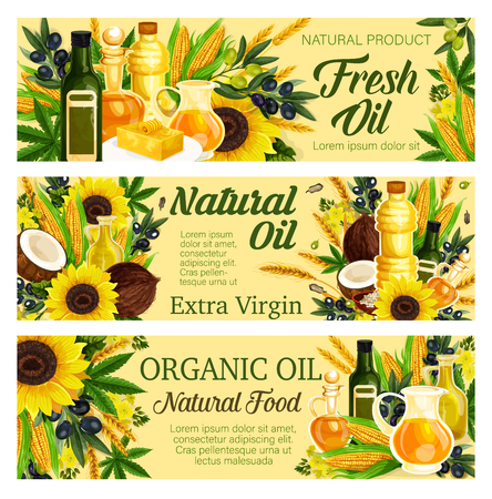 Natural oil plants of olive and hemp, sunflower and corn, palm and coconut. Vector healthy organic food, butter or margarine on plate. Bottles or jugs of liquid, seasoning and cooking, salad liquid dressing Ilustracja