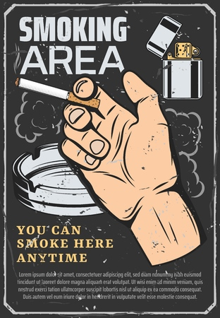 Cigarette and smoking area, retro vector. Male hand holding a cigar, lighter with fuel and glass ashtray, clouds of smoke. Permission to smoke here, habit of nicotine or tobacco addiction
