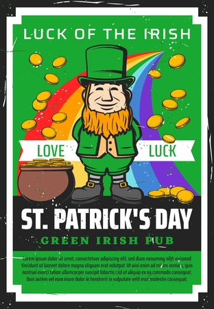 Saint Patrick day, Ireland holiday and Irish beer pub or bar green grunge poster. Vector St Patrick celebration rainbow with golden money coins splash from leprechaun cauldron pot
