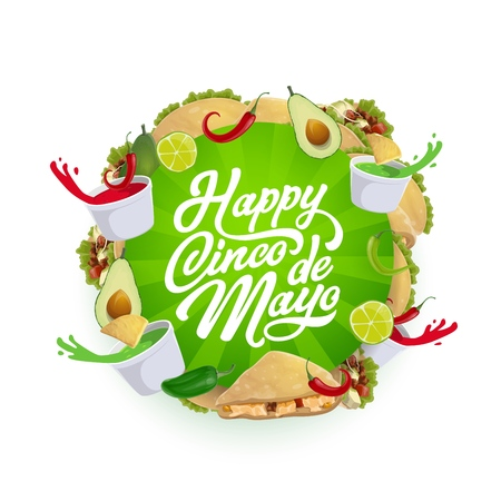 Cinco de Mayo fiesta party Mexican food vector greeting card. Chili tacos, nachos and corn tortilla, avocado guacamole and tomato salsa sauce with lime and jalapeno. Latin American holiday design
