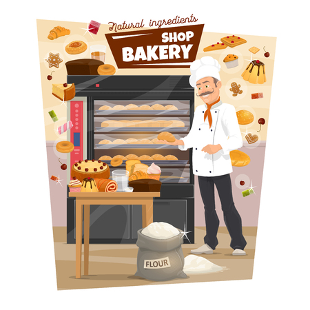 Baker and showcase, pastry food and bread, bakery stove. Vector loaf and baguette, cake and roll with jam, toast and donut. Croissant and waffles on table, gingerbread cookies, cupcake, sack of flour Stock Vector - 125283645