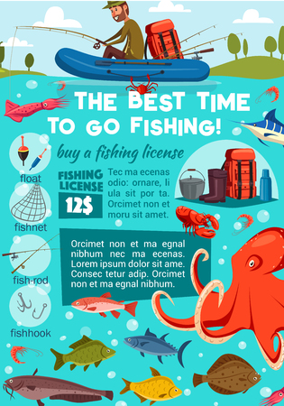 Sea fishing and buying license, fisherman and fish with tackles. Vector rod and hook, bait and net, gumboots and cauldron. Backpack and octopus, shrimp and catfish, squid and crab, flounder and marlin