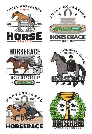 Renpaard en paardensport geïsoleerde pictogrammen, jockey school. Vectorrenbaan en hindernissen, ruiter op hengst en trofeekop met kroon, gelukshoefijzer. Toernooiwedstrijd met dieren