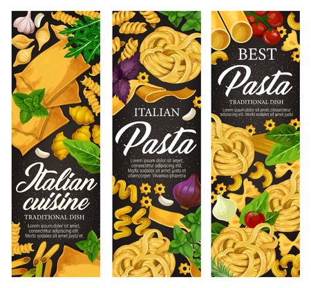 Pasta with seasonings, vector menu banners. Farfalle and fusilli, lasagna sheets and tagliatelle, kanelone and penne. Stelle and konkiloni, bucatini and cavatappi, gobetti rigati