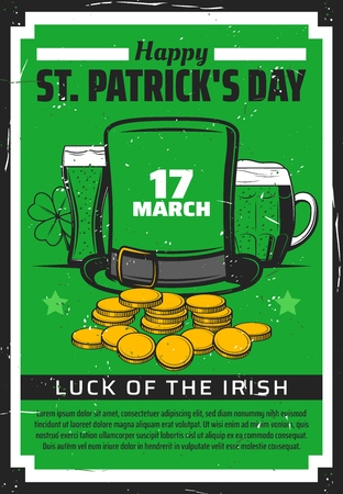 Happy St Patricks Day green beer and clover vector design. Irish pub party invitation with leprechaun hat, gold coins and shamrock, beer mug and glass. Religion holiday of Ireland celebration themes