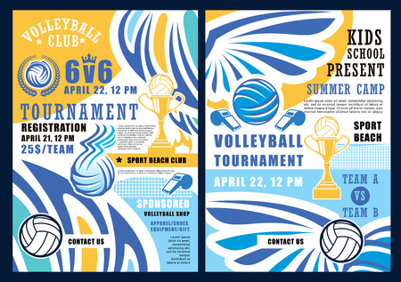 Volleyball sport game, ball and whistle. Vector summer beach tournament, gold trophy cup prize, sporting items, crown and wings. Invitation on kids school championship, sponsored apparel and shoes