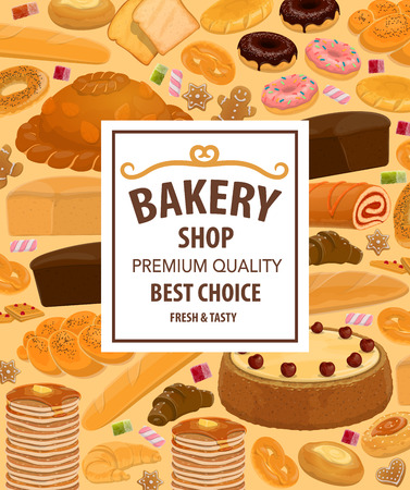 Bakery pastry food and desserts, confectionery. Vector wheat, rye bread and cake, baguette and pancake, bun and pretzel. Donut cookie, bagel and marshmallow, croissant and marmalade, toast and roll