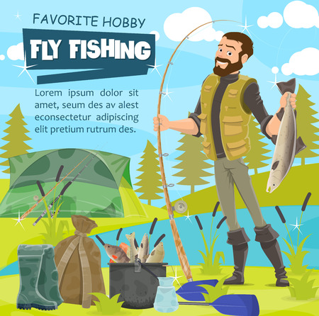 Fisher catching fish, tackle and fishery equipment, camp tent and backpack. Vector rubber boot and bucket with fish, rod and pike, salmon and trout, perch and crucian, oar and cauldron