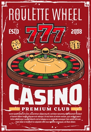 Casino roulette wheel and gambling dice, retro vector lucky numbers. Money stakes and risk in game of luck, 777 combination, play with money stakes. Chance and opportunity, wealth and fortune