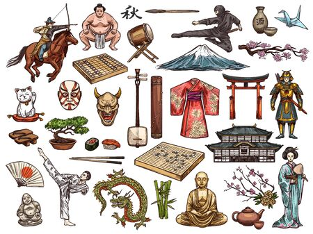 Japanese religion, culture and traditions vector isolated icons. Sushi and kimono, tea ceremony and samurai, drum taiko and origami, judo and karate. Fujiyama mount and geisha, sumo and bonsai tree Stock Vector - 129345344