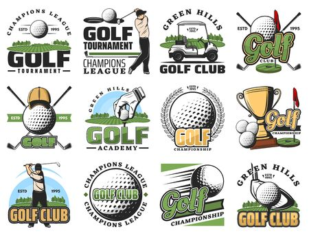 Golf sport game symbols and equipment icons. Vector golfer and ball, stick, cart, hole and golf course or field, gold trophy cup and tee. Championship symbols, green hills