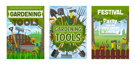 Gardening festival, farming tools and equipment. Vector forks and spit, shovel and ax, scissors and secateurs, spade and watering can, bucket and sprayer. Hoe and wheelbarrow, hose and saw, fence Illusztráció