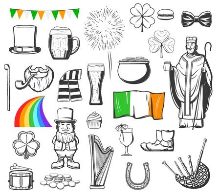 St Patricks Day religion holiday of Ireland vector symbols. Pot with gold, leprechaun and hat, clover green leaf, rainbow and lucky shamrock, beer mug, horseshoe and irish flag, harp, beard and pipe Çizim