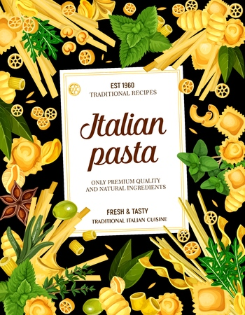 Italian pasta menu. Vector rotelle and ravioli, gnocchi, rigatoni, fettucine, linguine and conchiglie, oregghiette and fagottini. Alluovo and ditalini, tortelloni and risoni, olive